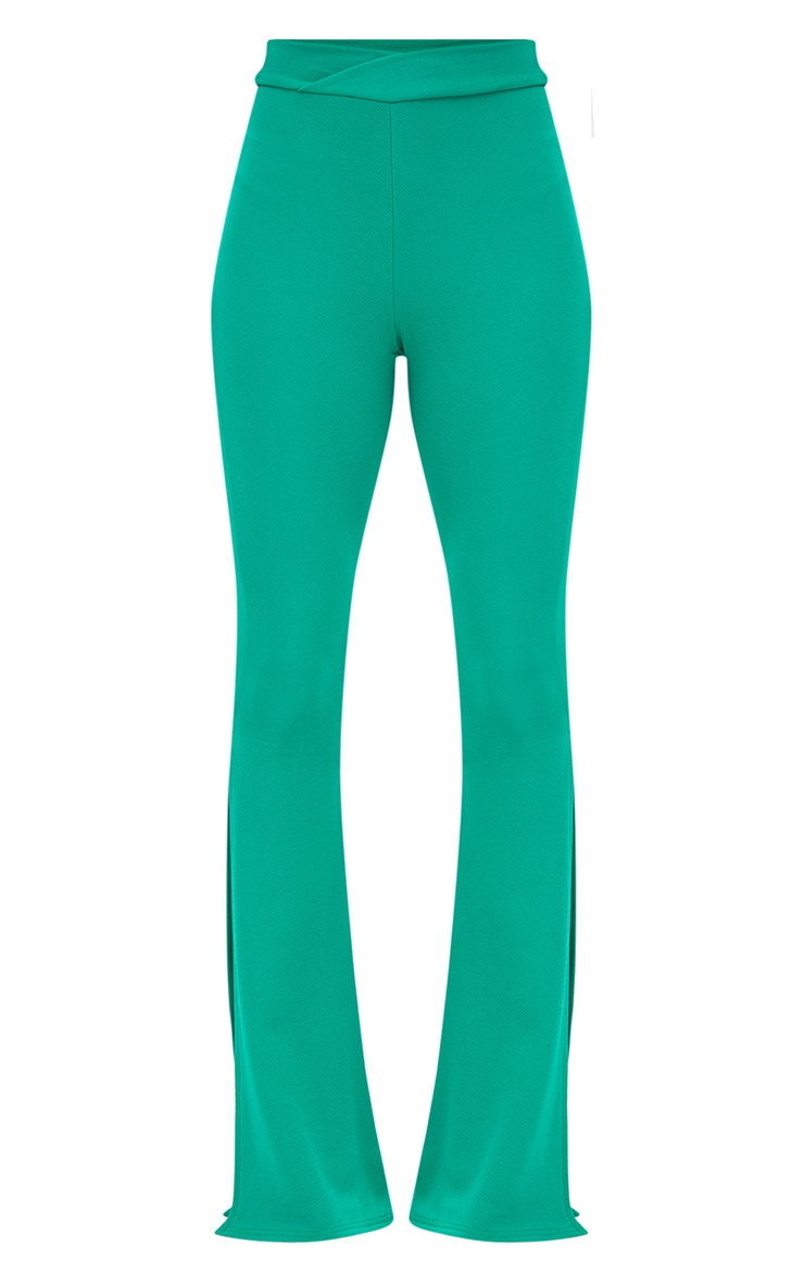 Petite Emerald Green Cross Waist Skinny Split Flare Trousers 3