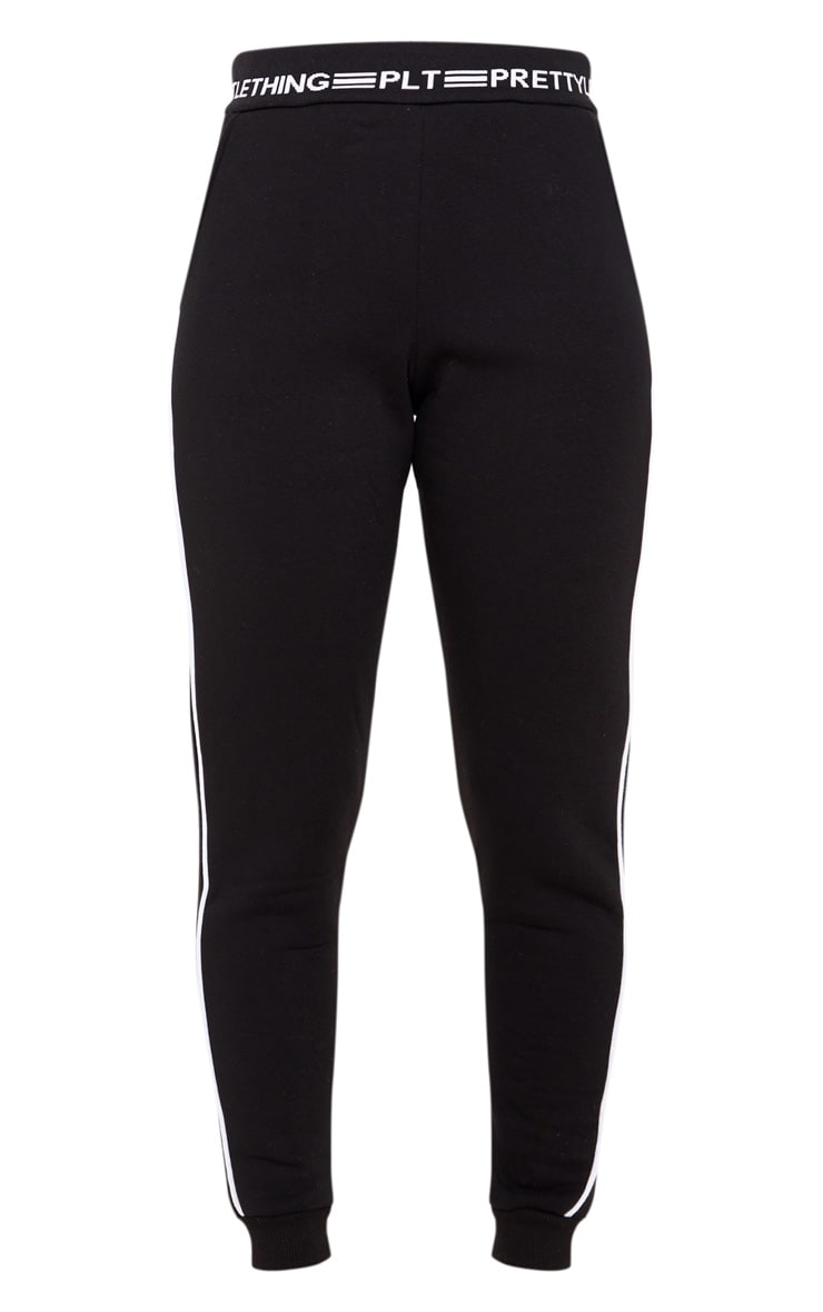 PRETTYLITTLETHING Black Contrast Piping Cuff Joggers 3