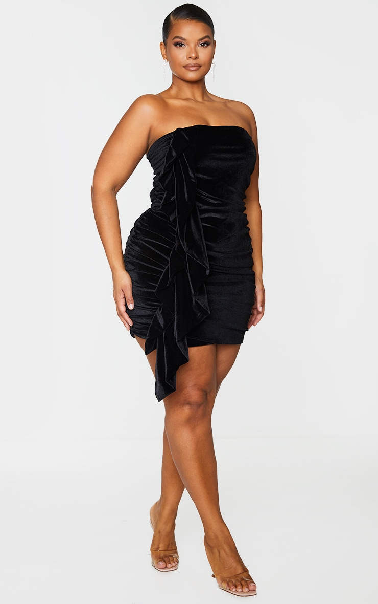 Plus Black Velvet Ruched Bandeau Dress 1