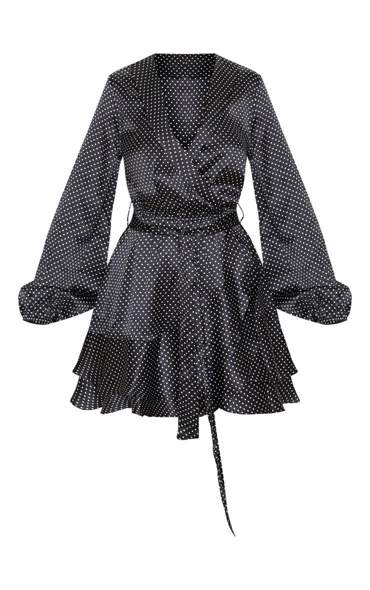 Black Polka Dot Satin Frill Hem Tea Dress 3