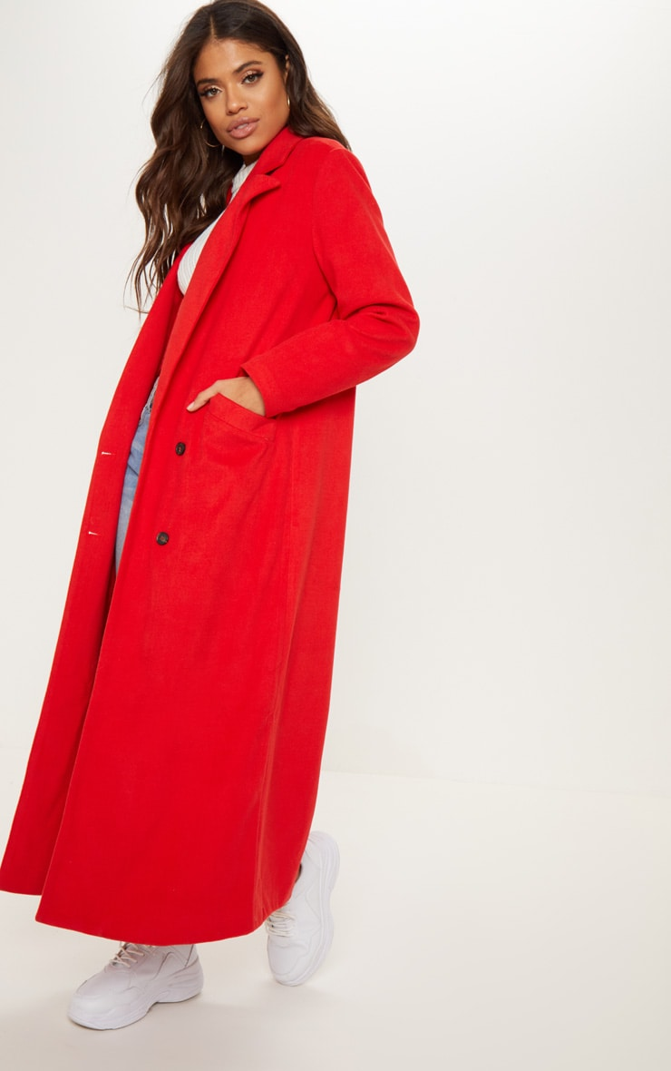 Red Longline Double Breasted Coat  4