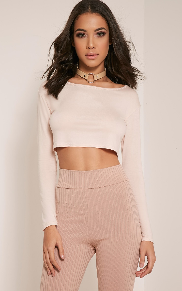 Basic Nude Long Sleeve Crop Top 1