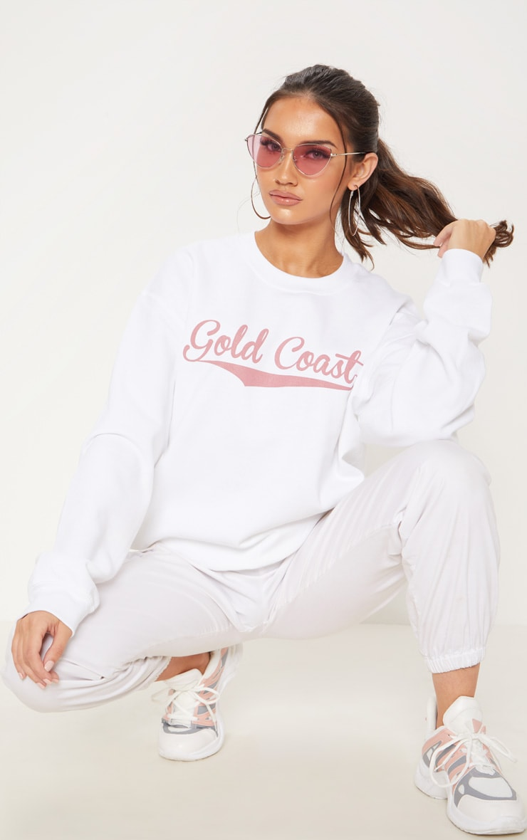 White Gold Coast Slogan Oversized Sweater