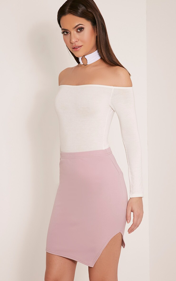 Juliette Mauve Asymmetric Scuba Mini Skirt 1