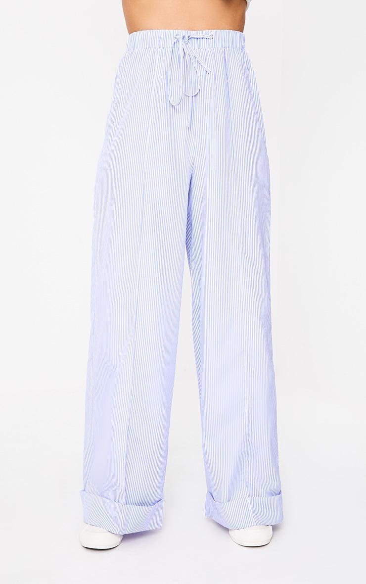 Cayley Light Blue Pinstripe Wide Leg Trousers 2