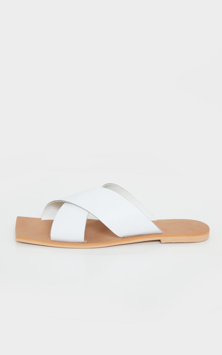 White Square Toe Leather Cross Over Strap Leather Mule Sandals 4