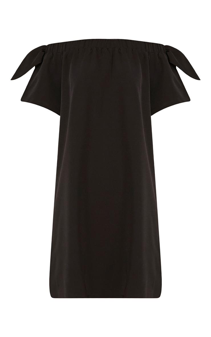 Cayla robe trapèze bardot en crêpe noire 3