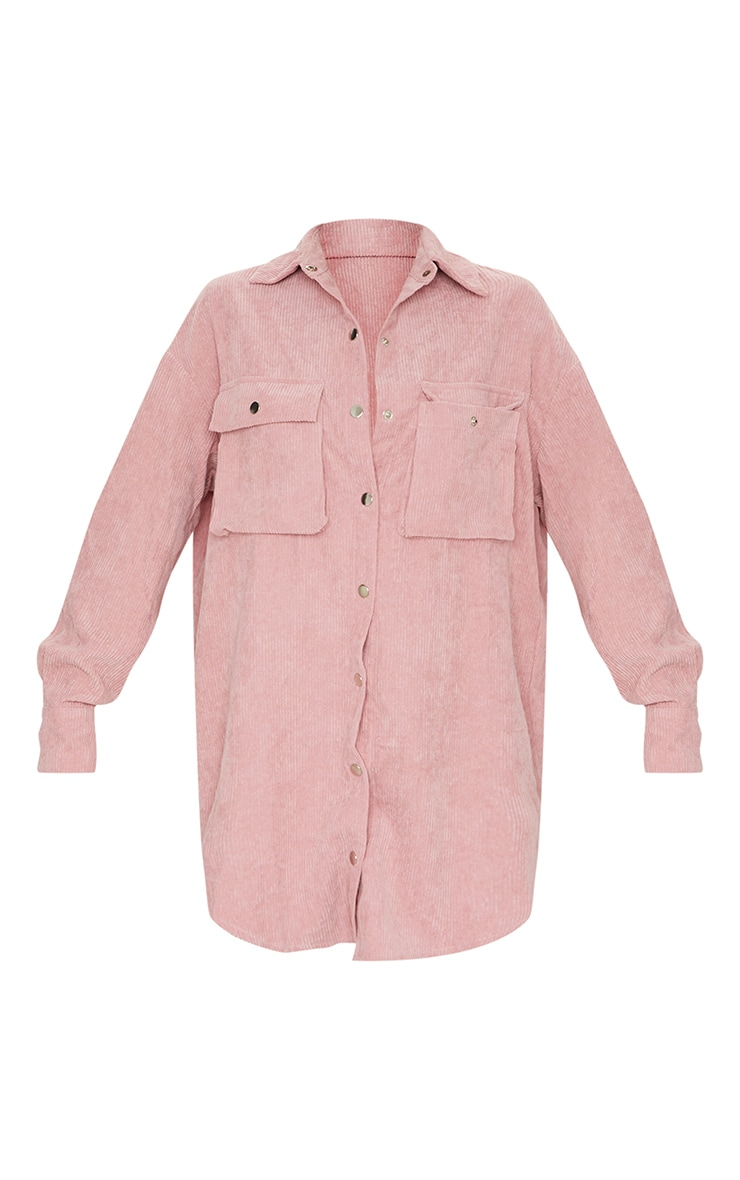 Blush Cord Pocket Detail Shirt Dress 5
