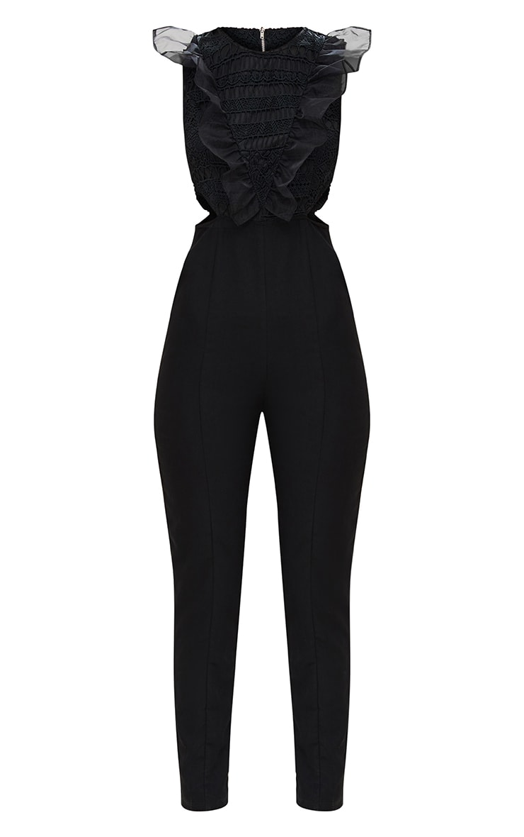 Black Mesh Shoulder Cut Out Detail Jumpsuit 4