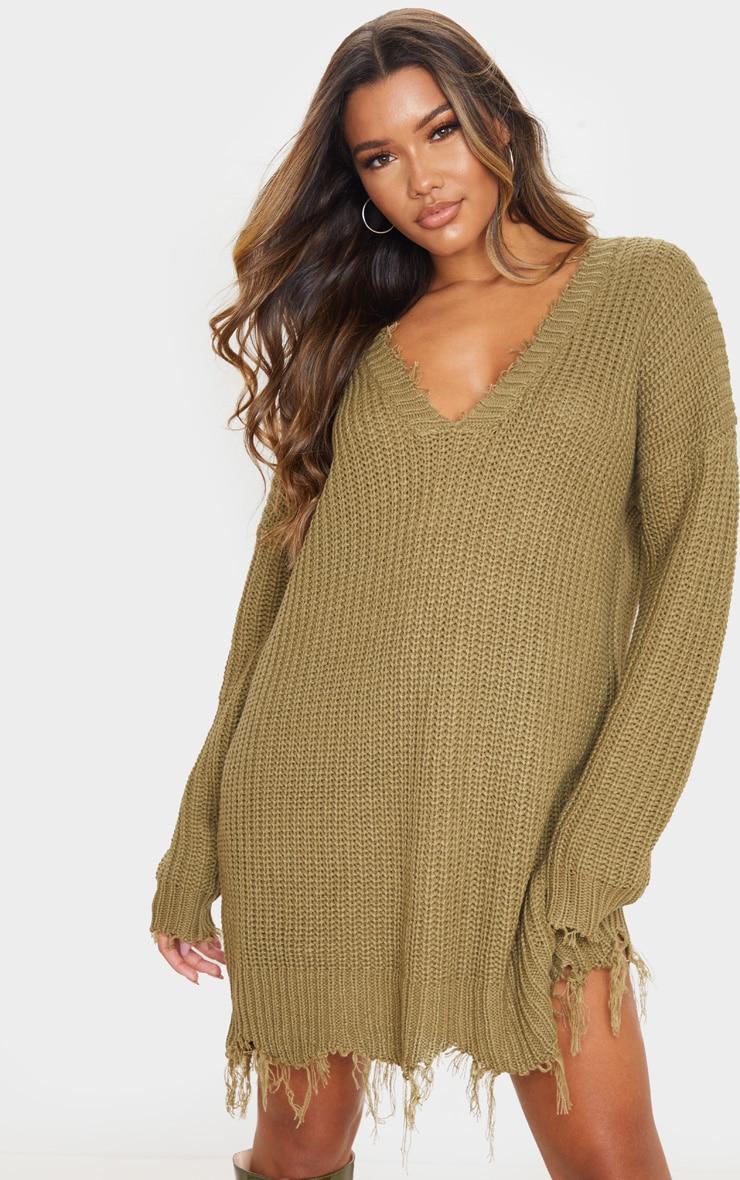 Khaki Fringe Hem Knitted Jumper Dress 4