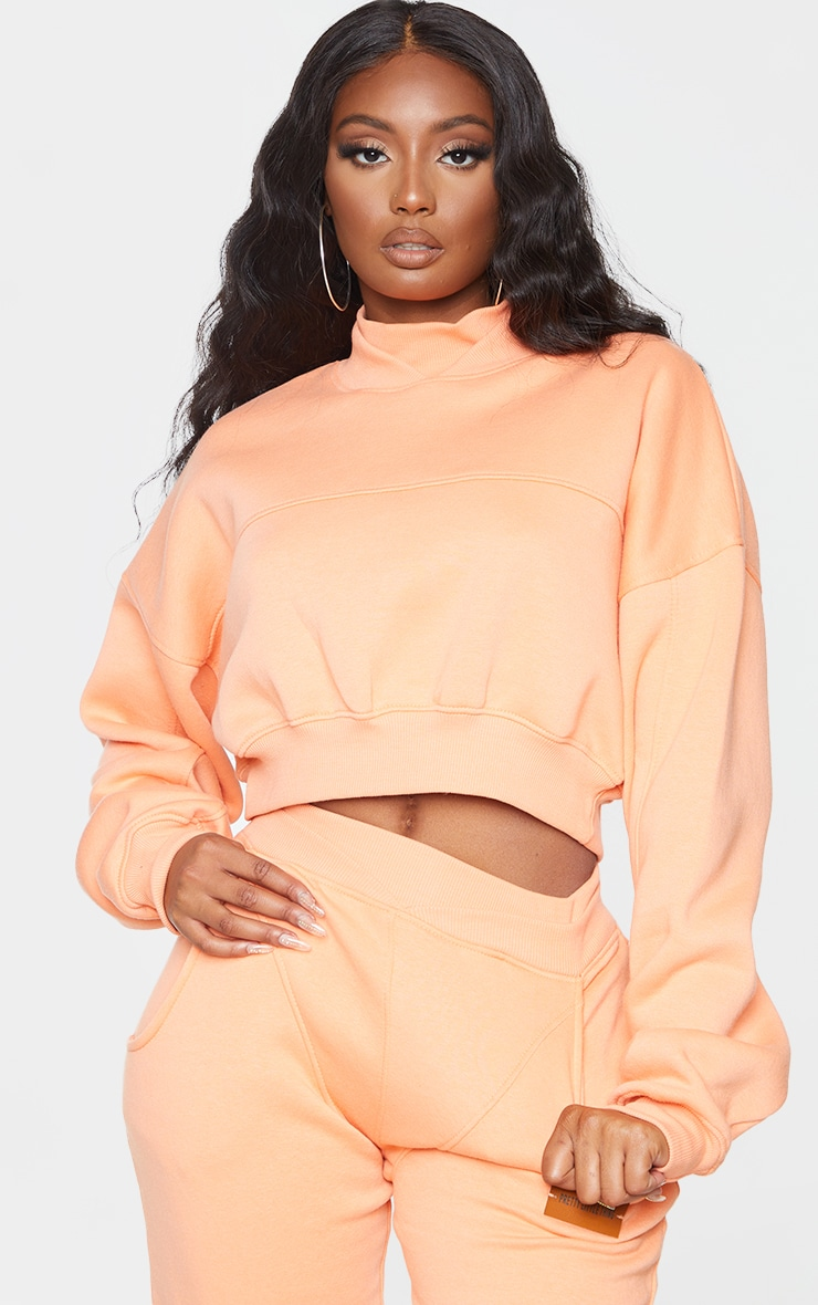 PRETTYLITTLETHING Peach Badge Back Detail Crop Sweater 2