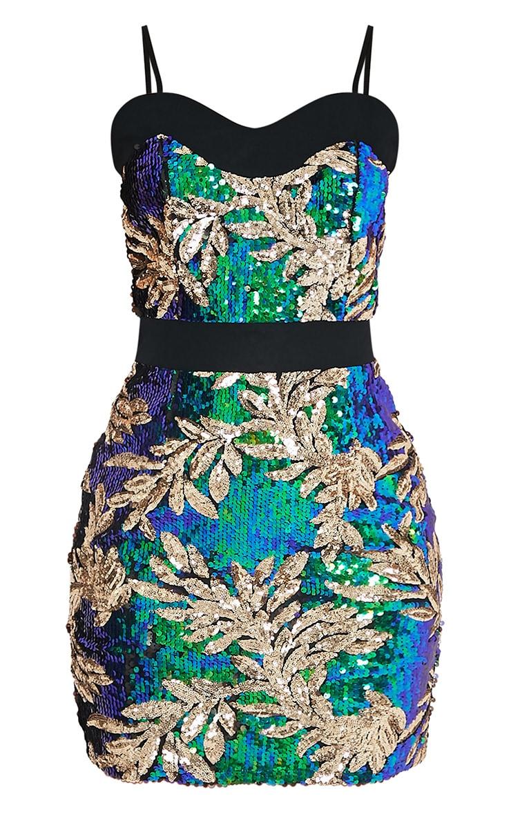 Camillia Green Strappy Sequin Bodycon Dress 3