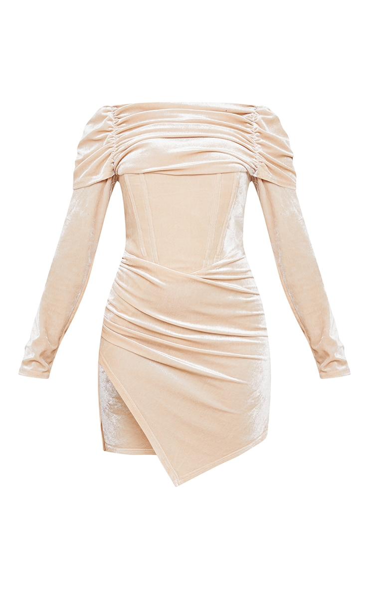 Petite Champagne Velvet Ruched Corset Long Sleeve Bodycon Dress 5