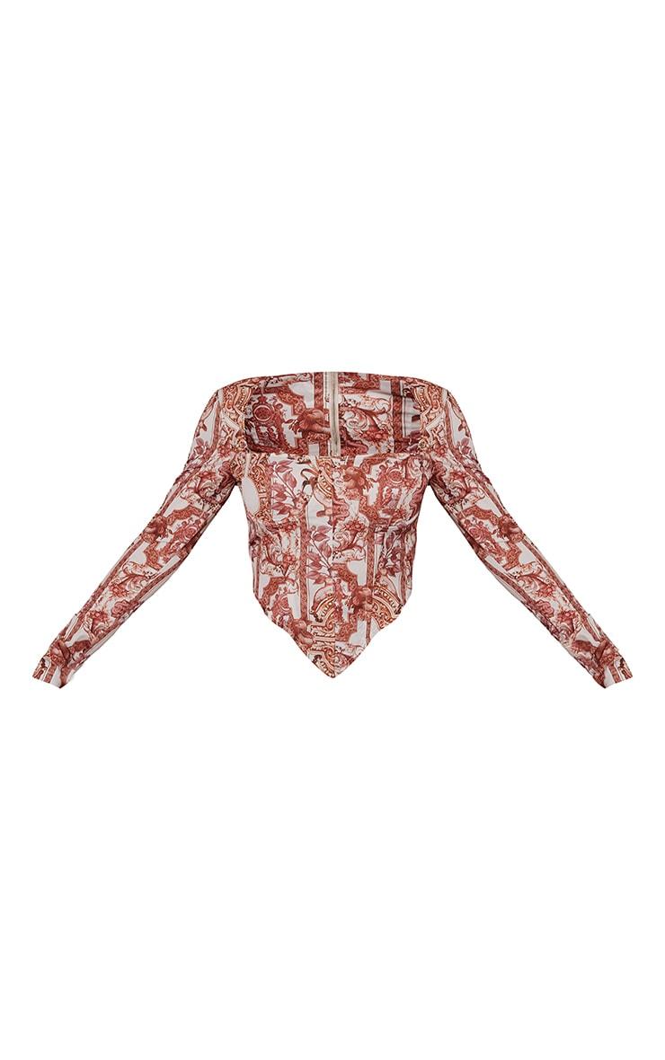 Brown Abstract Border Renaissance Print Woven Long Sleeve Bust Detail Corset Crop Top 5