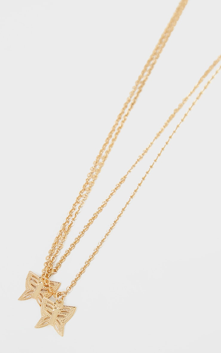 Gold Double Layer Dainty Butterfly Necklace 3