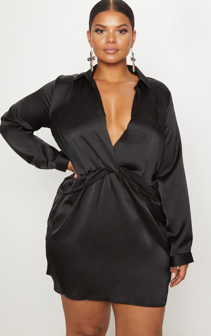 Plus Black Twist Front Satin Shirt Dress 4