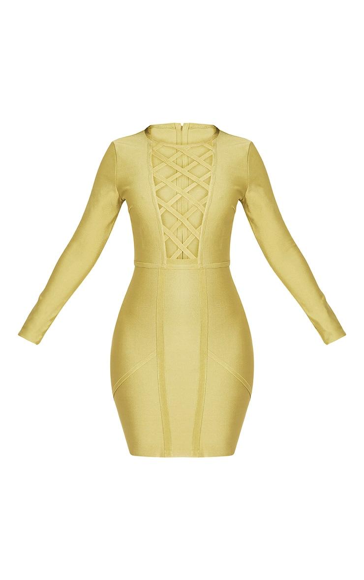 Livia Dark Lime Lattice Bandage Bodycon Dress 3