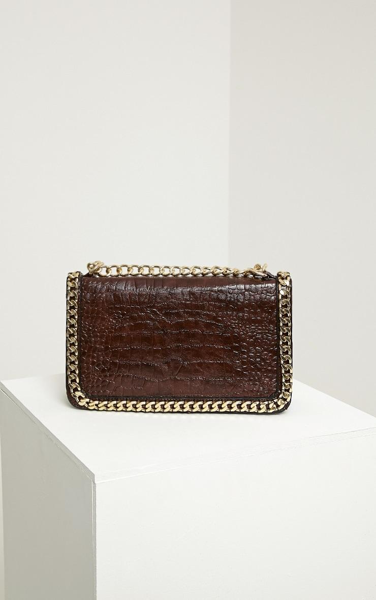 Ophelia Mocha Chain Detail Bag 4