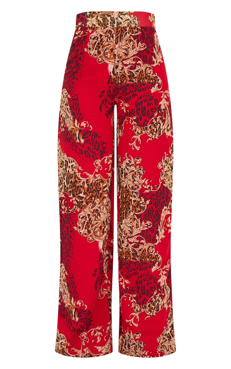 Red Chain Print Wide Leg Trousers 3