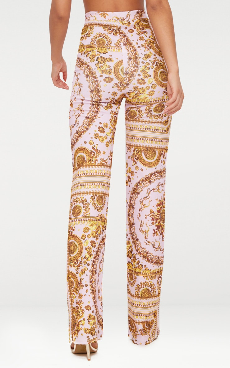 Baby Pink Scarf Print Straight Leg Trousers  4