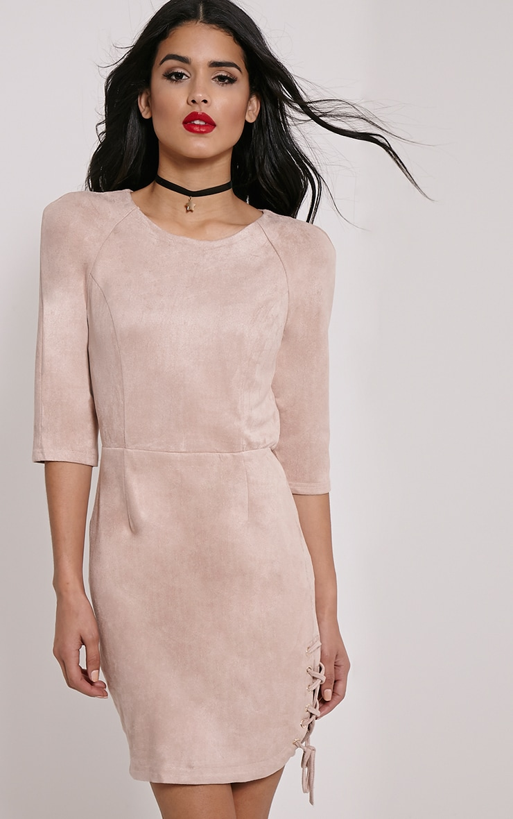 Brooke Beige Lace Up Detail Suede Dress 4