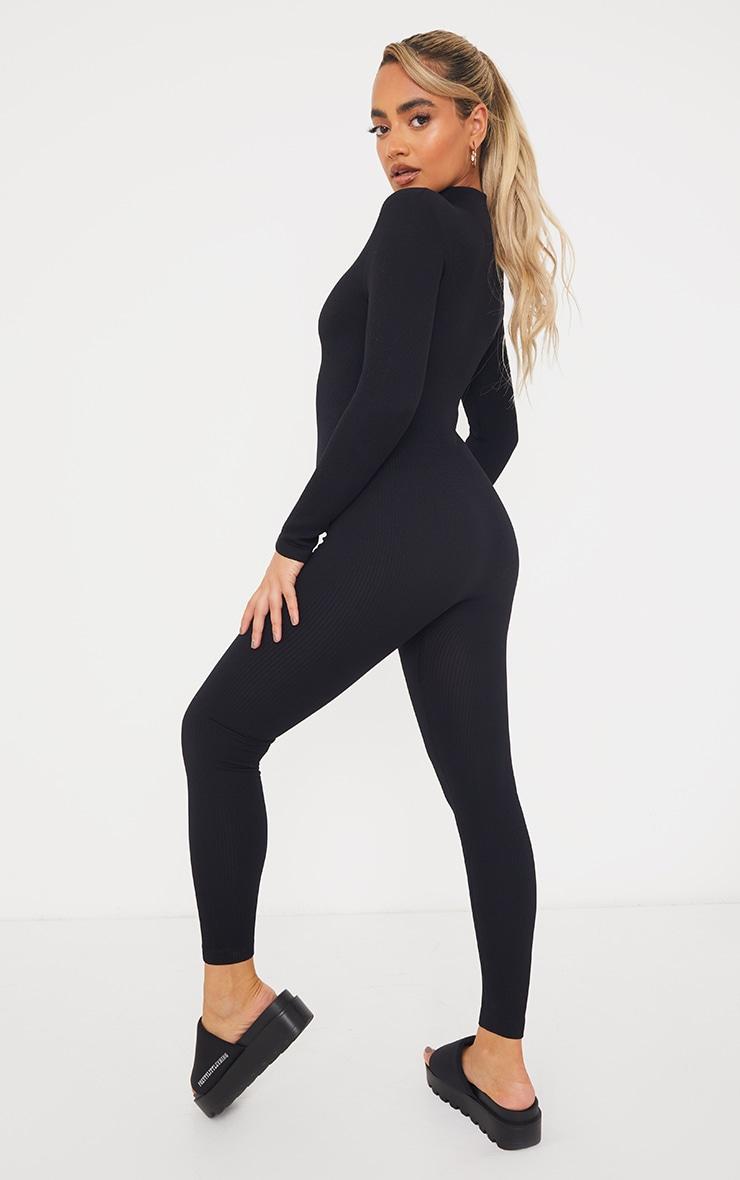 Petite Black Structured Ribbed Jumpsuit 2