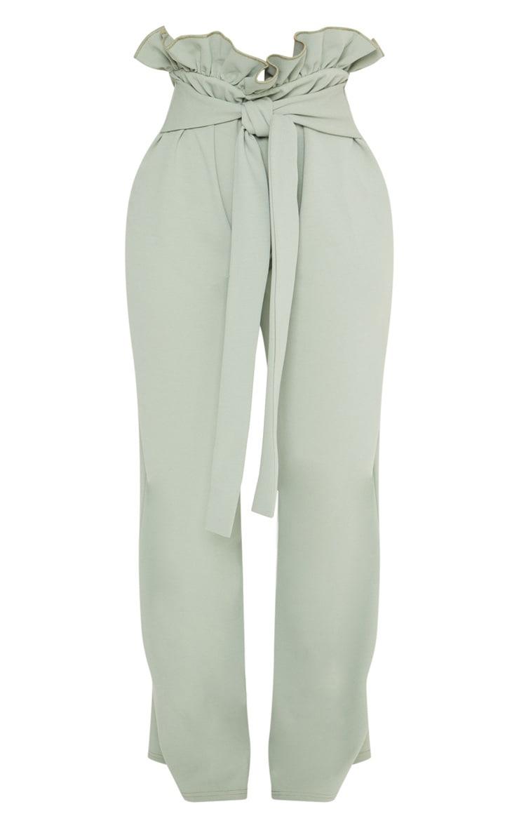 Shape Sage Green High Waist Paperbag Wide Leg Trousers 3
