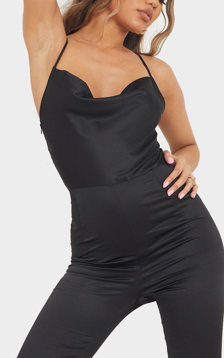 Black Satin Lace Up Cowl Neck Jumpsuit 4