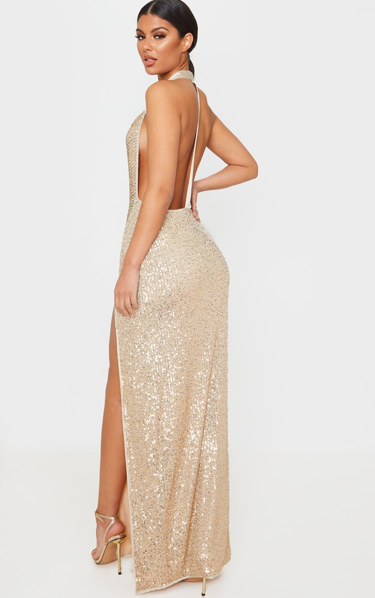 Gold Sequin Back Detail Maxi Dress 2