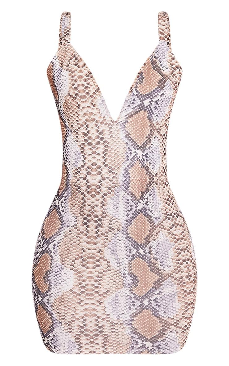Korel Taupe Snake Print Plunge Bodycon Dress 3