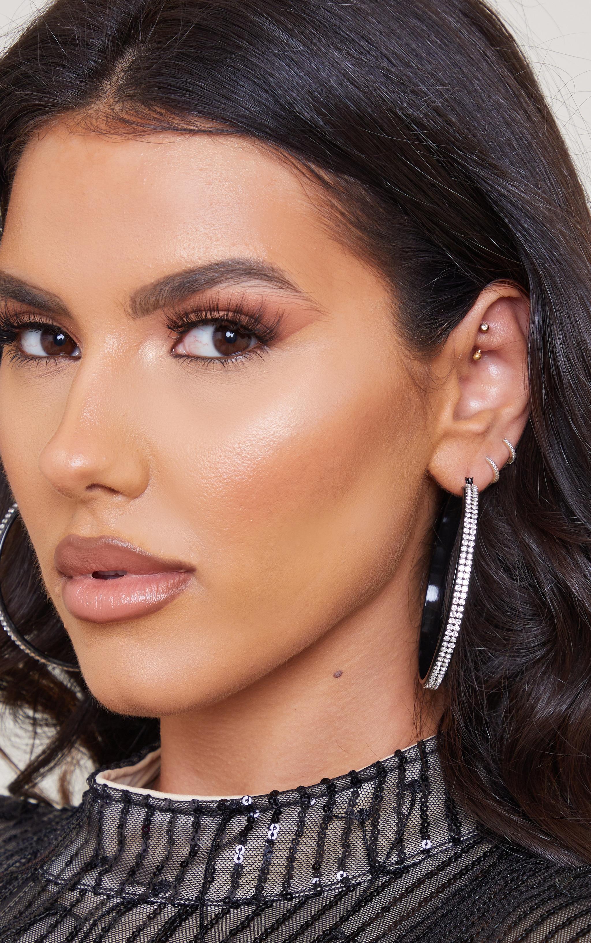 Black Diamante Row Hoop Earrings 1