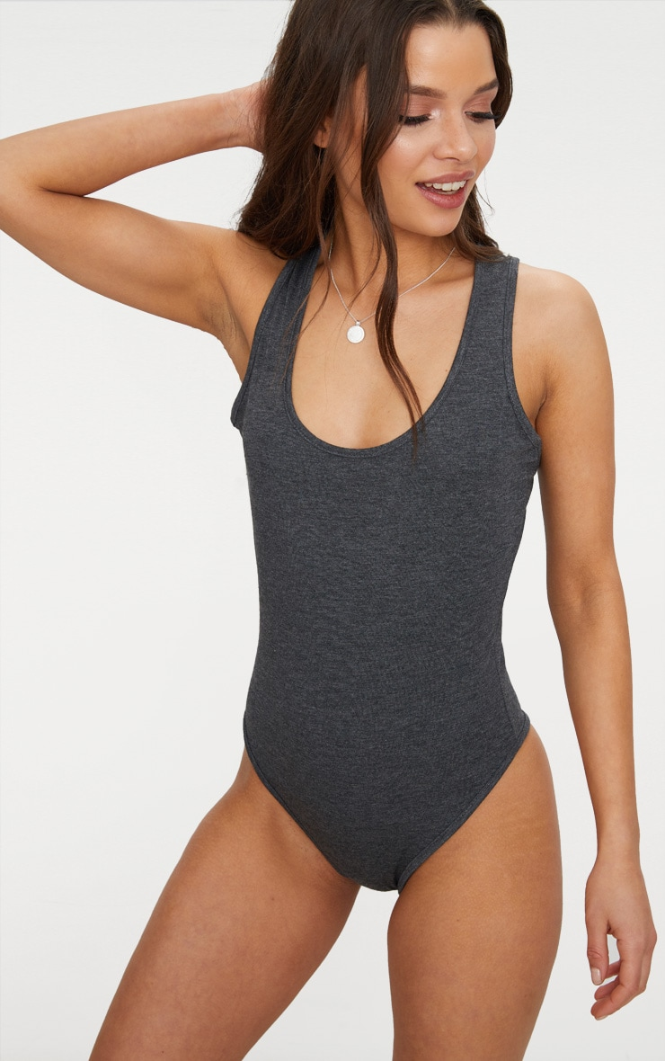 Basic 2 Pack Grey Marl & Charcoal Racer Back Bodysuit 2