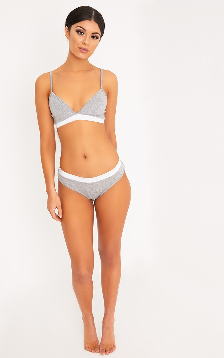 Basic Grey Jersey Bra and Knickers Set 4