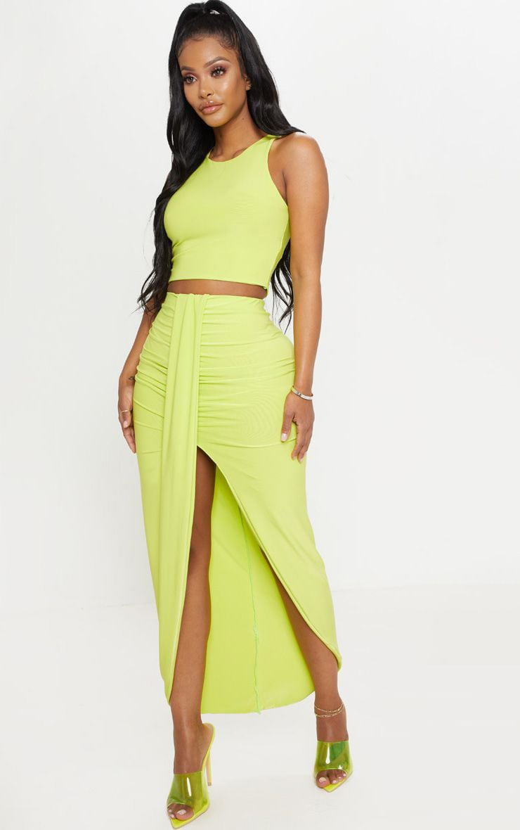 f170fbb6c7 Shape Neon Lime Slinky Drape Front Midi Skirt | PrettyLittleThing USA