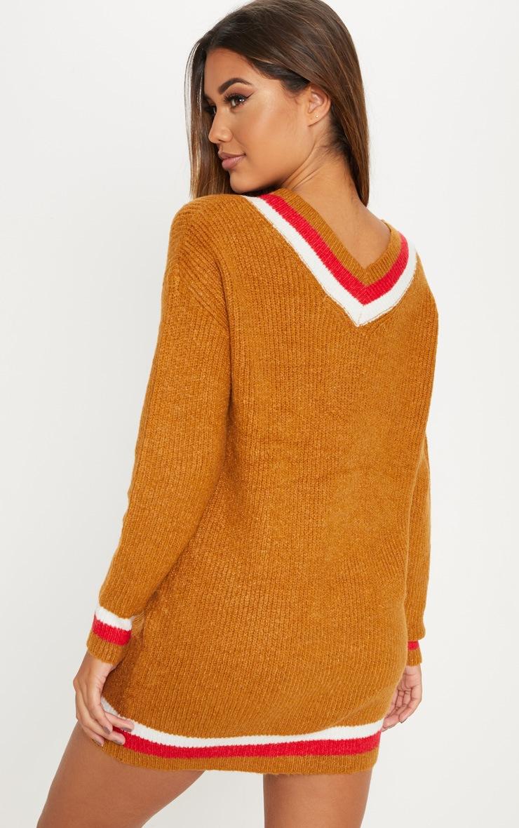 Brown V Neck Contrast Stripe Jumper Dress 2