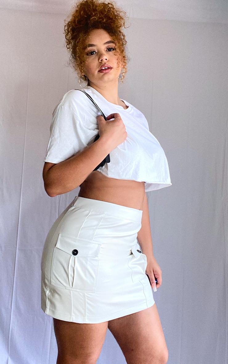 Plus Cream Faux Leather Cargo Pocket Front Mini Skirt 1