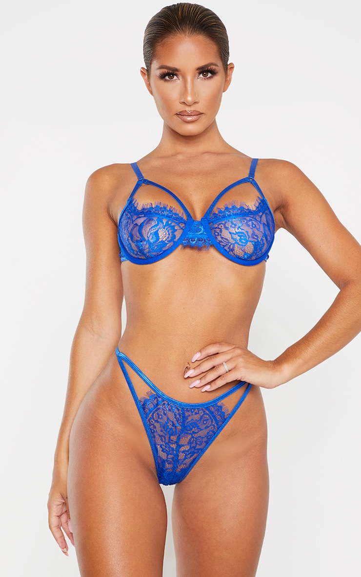Cobalt Eyelash Lace Underwired Harness Bra 1