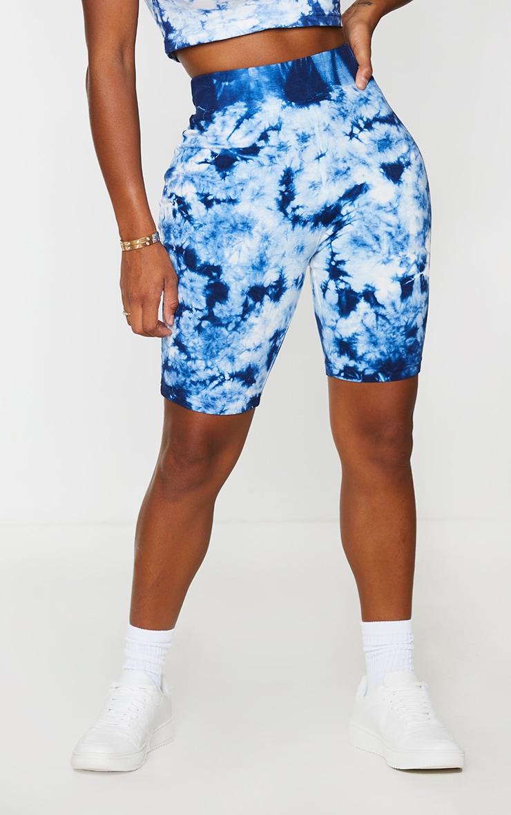 Shape Blue Tie Dye Cotton Cycling Shorts 2
