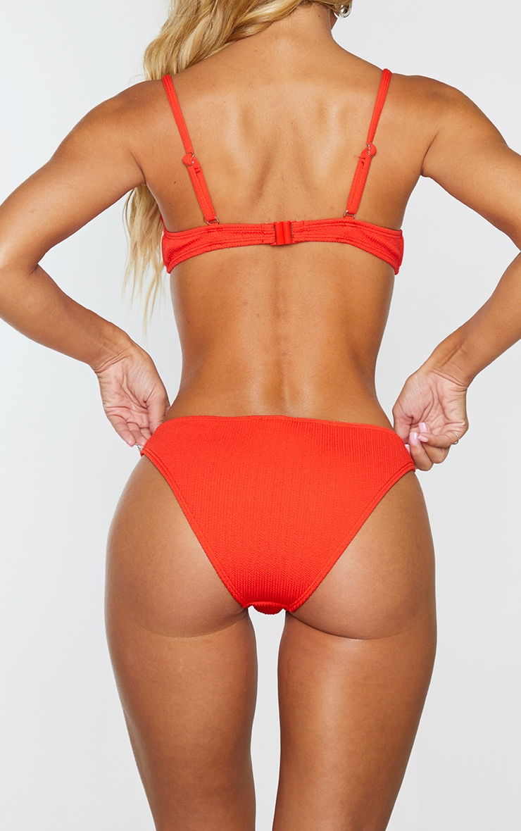 Red Mini Crinkle Bikini Bottom 3