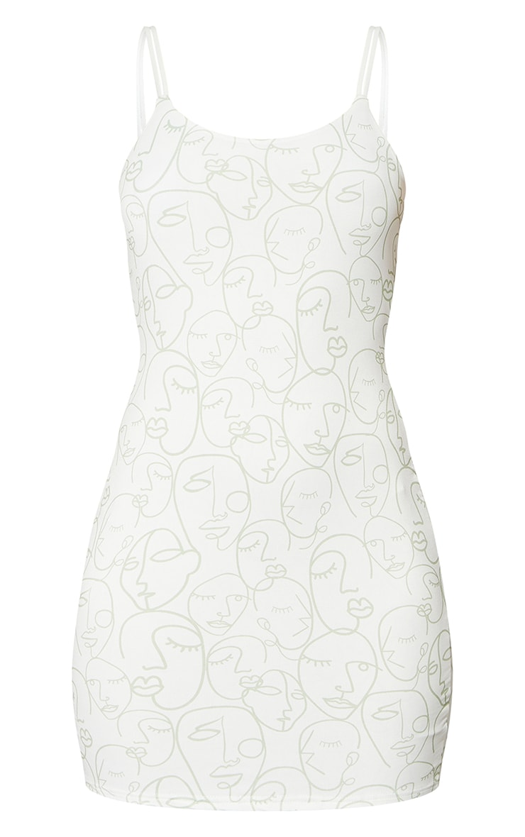 Sage Green Face Illustration Print Double Strap Bodycon Dress 5