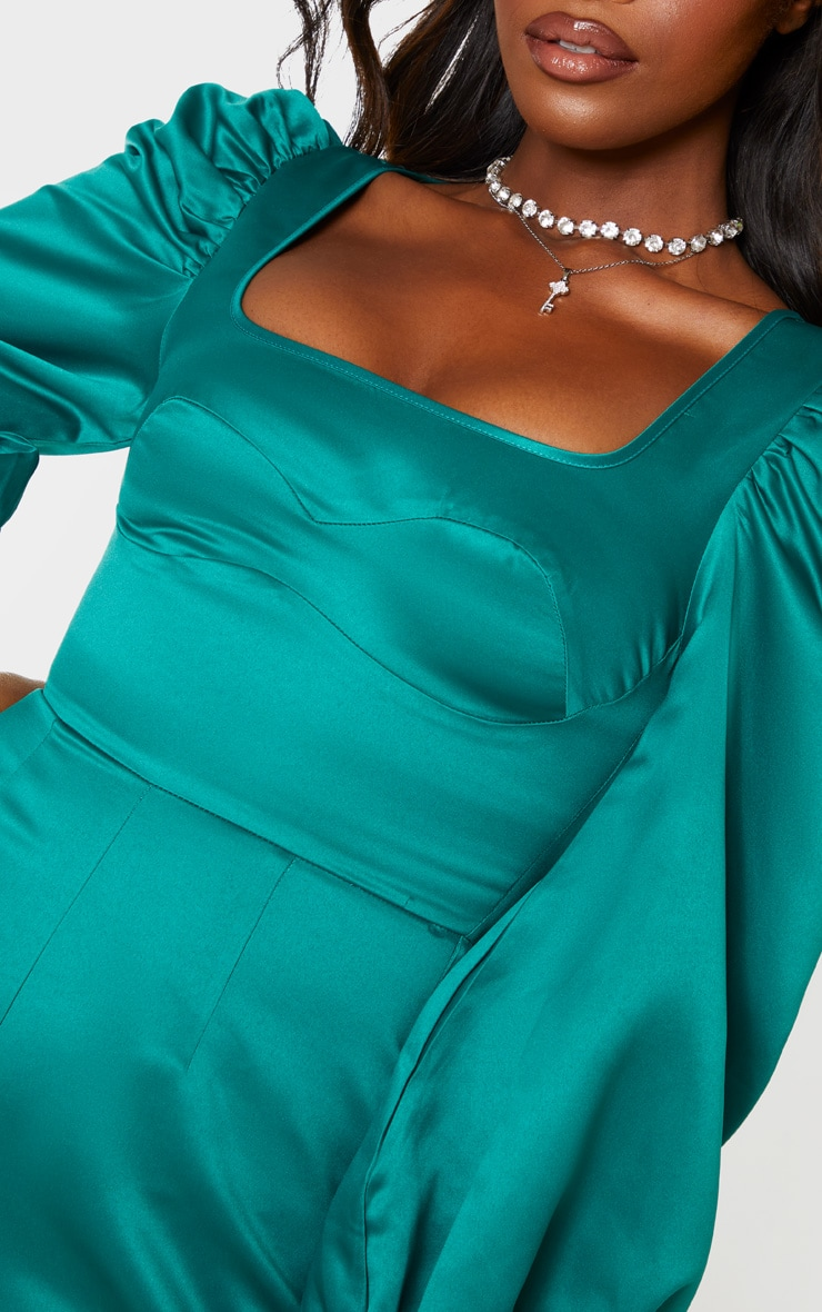 Emerald Green Bonded Satin Bust Detail Playsuit 6