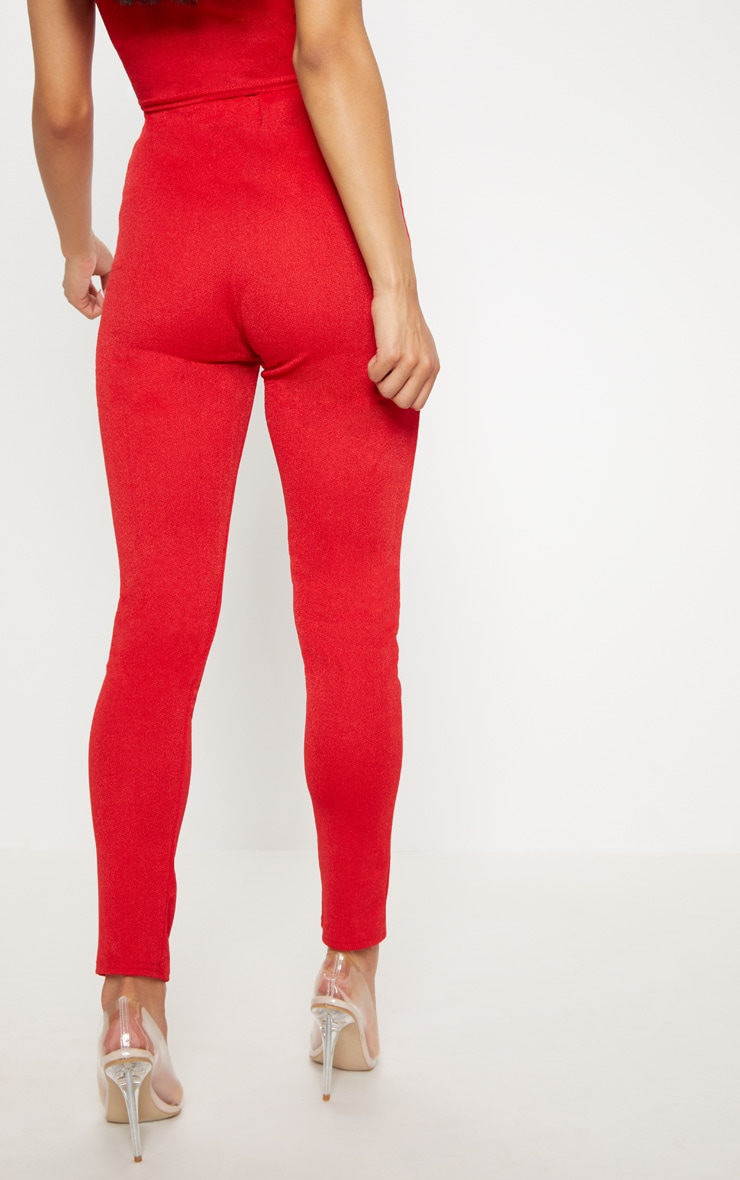 Red High Waisted Stretch Crepe Legging 4