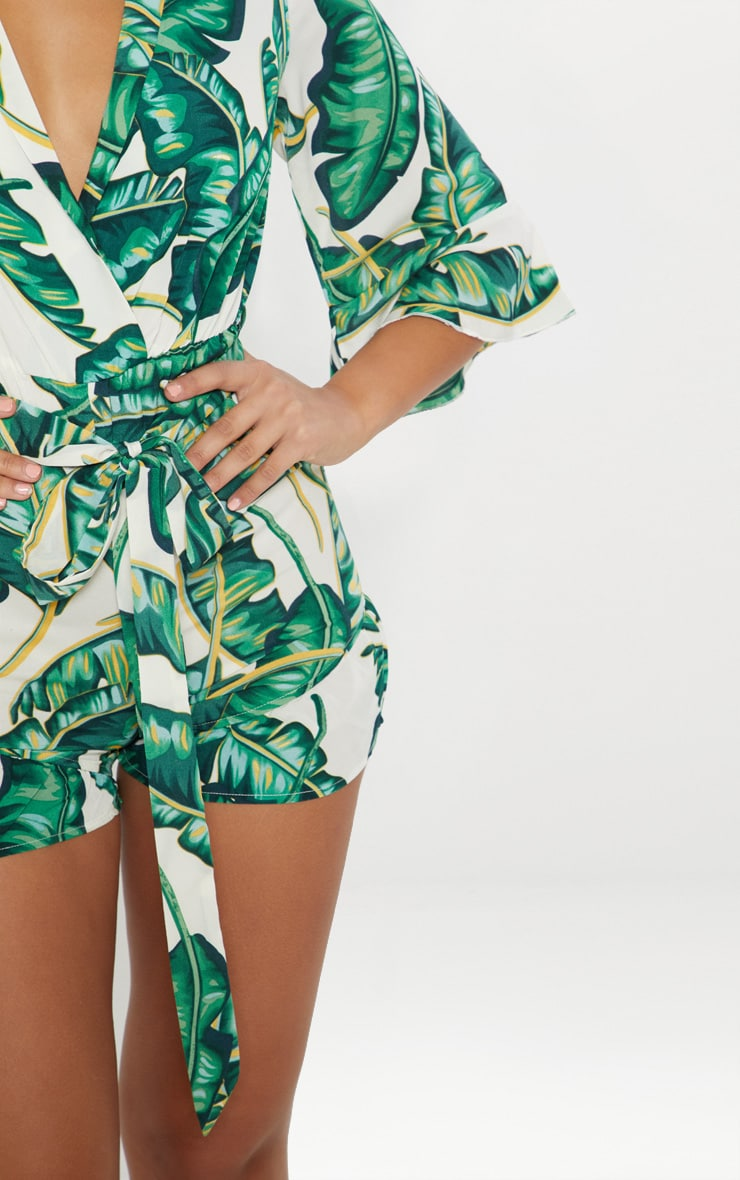 Green Tropical Frill Playsuit 4