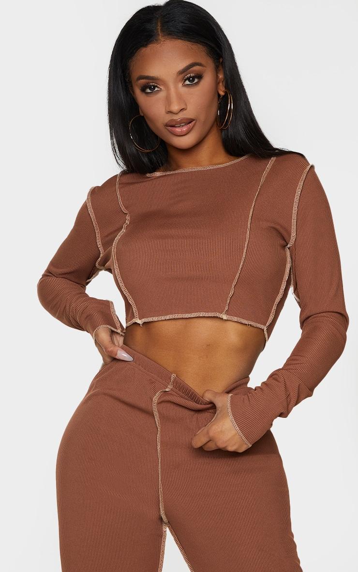 Shape Chocolate Brown Rib Overlock Seam Detail Crop Top 1