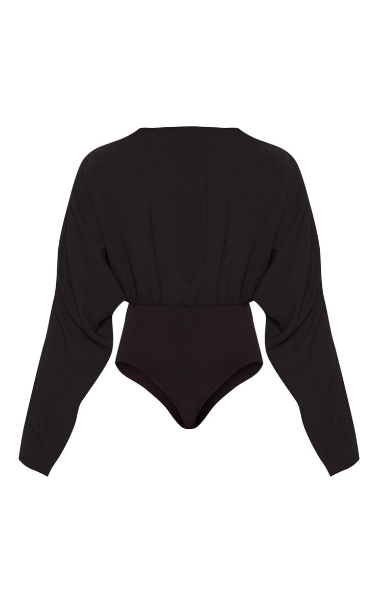Tall Black Plunge Long Sleeve Bodysuit 4