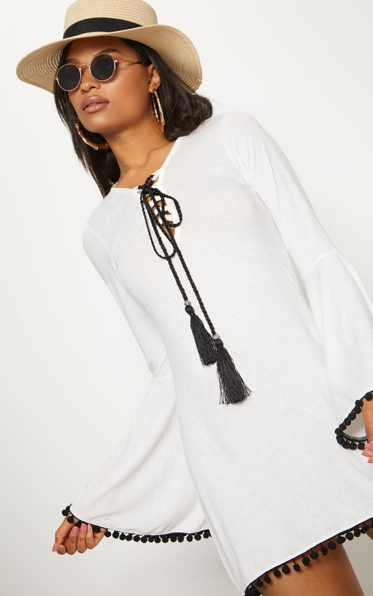 White Pom Pom Lace Trim Fluted Sleeve Skater Dress 5
