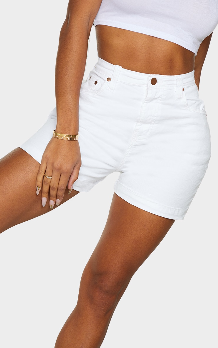 Shape White High Waist Fitted Denim Shorts 5