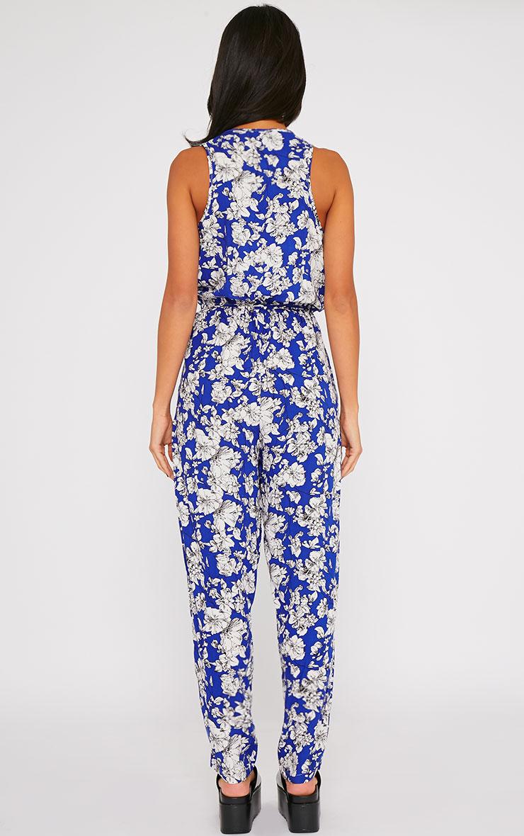 Elisa Blue Floral Print Jumpsuit  2