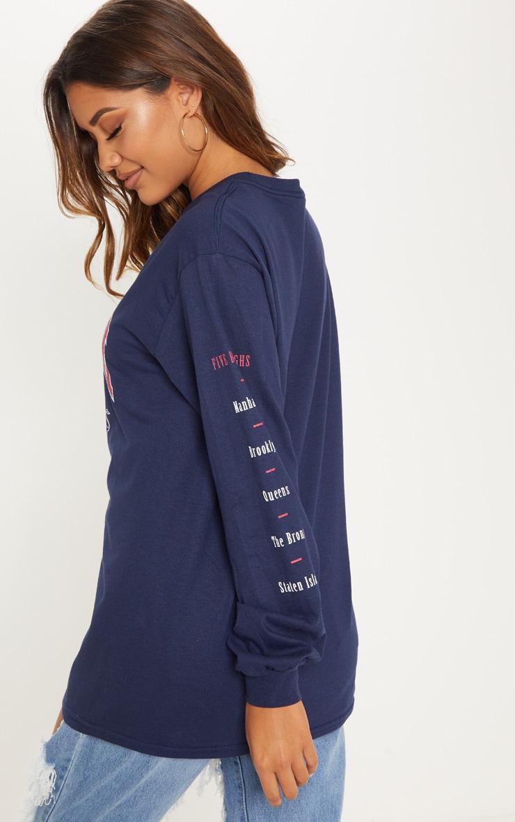 Navy NYC Slogan Printed Long Sleeve T Shirt 2