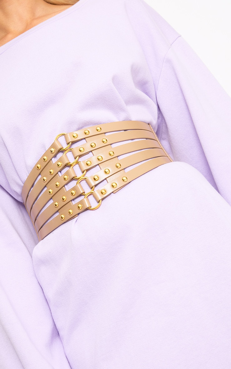 Nude Studded Multi Ring Corset Belt 1